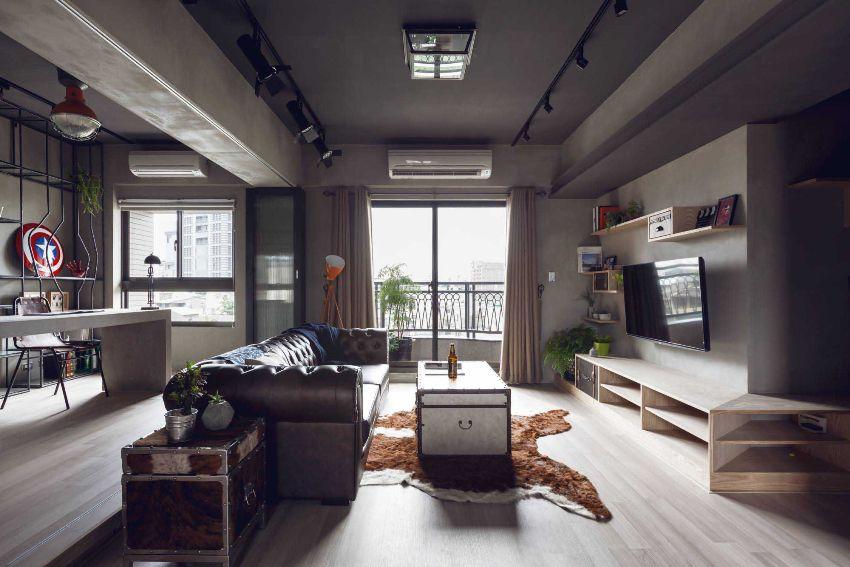 Квартира-студия оформлена в стиле лофт