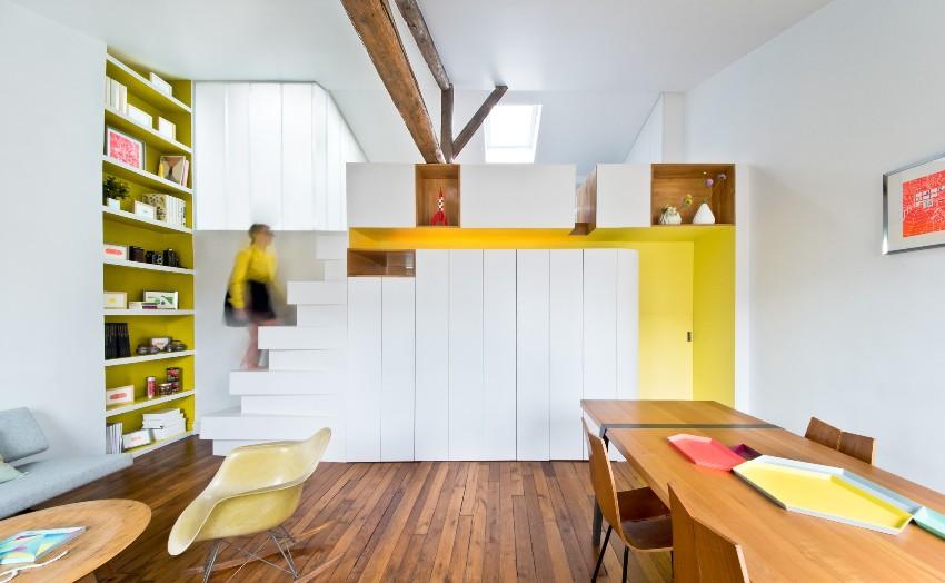 Популярной для квартир-студий остается мебель-конструктор