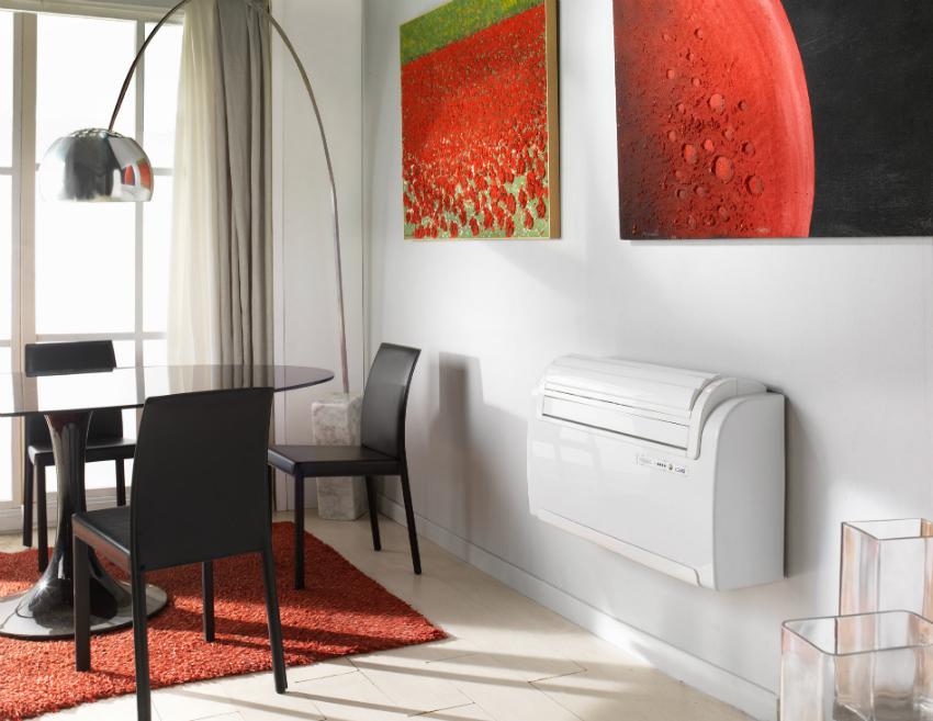 Монтаж напольно-потолочных кондиционеров может осуществляться как на потолок, так и внизу стены