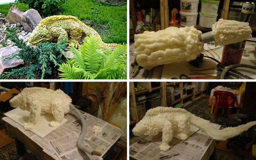 Изготовление ящерицы из монтажной пены