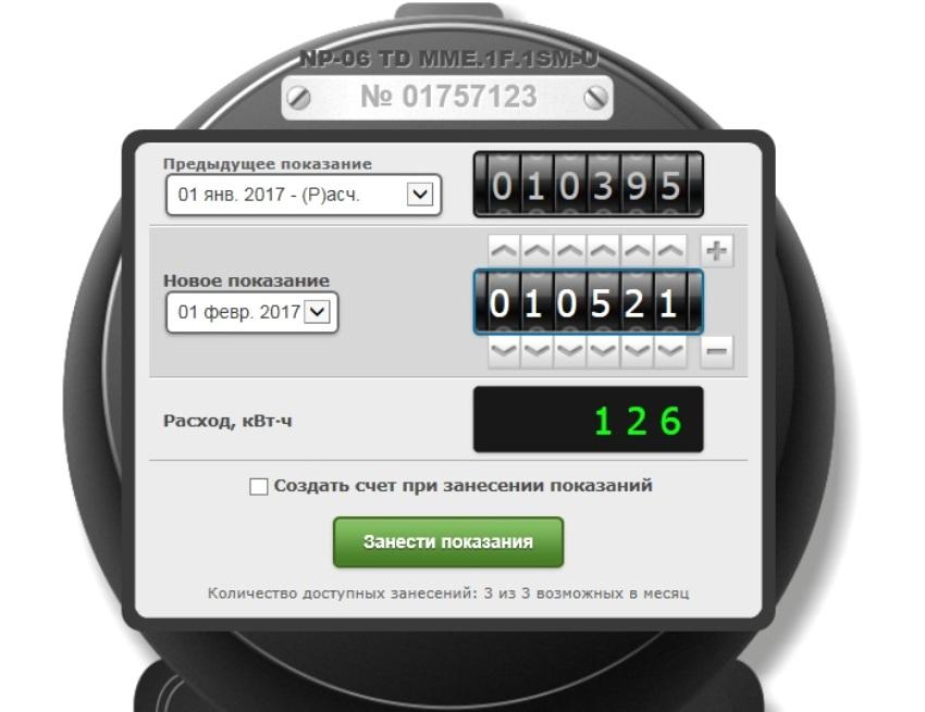 Интерфейс личного онлайн-кабинета для внесения данных