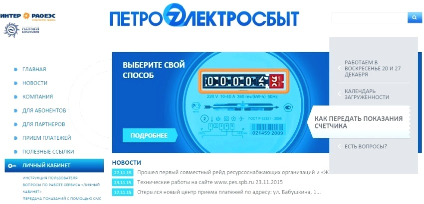 Интерфейс сайта Петроэлектросбыт для входа в личный кабинет