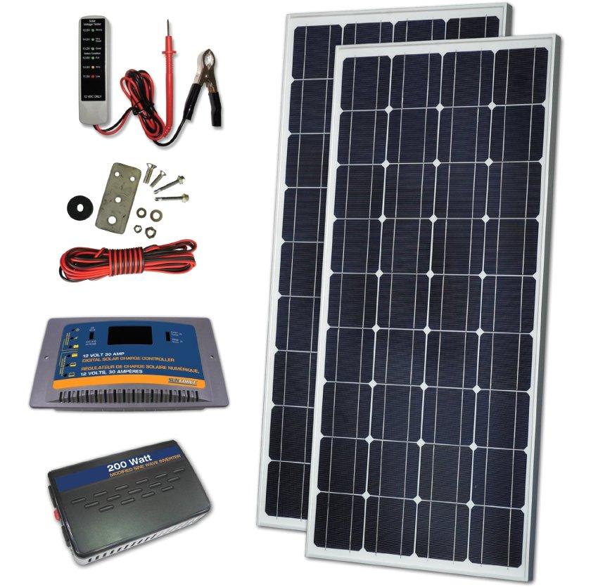 В состав комплекта могут входить помимо солнечных батарей контроллер зарядки, аккумуляторная станция, инвертор, соединительная аппаратура