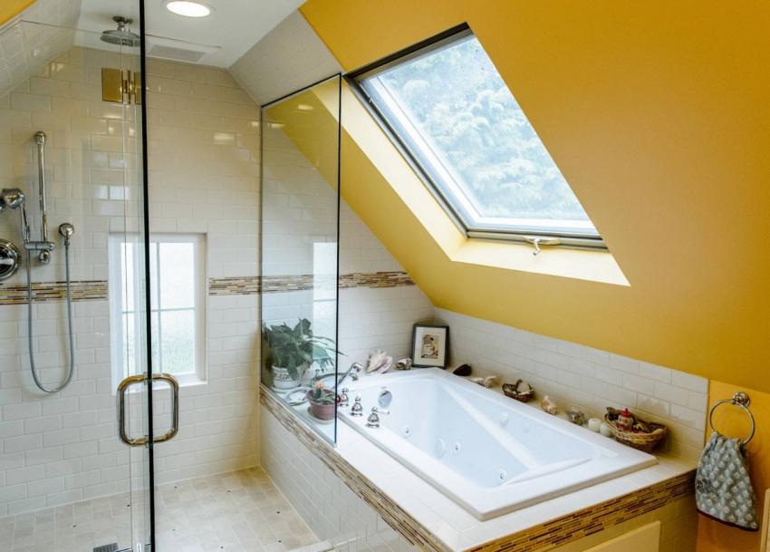 Пример комбинации керамической плитки и окрашенных стен водостойкой краской