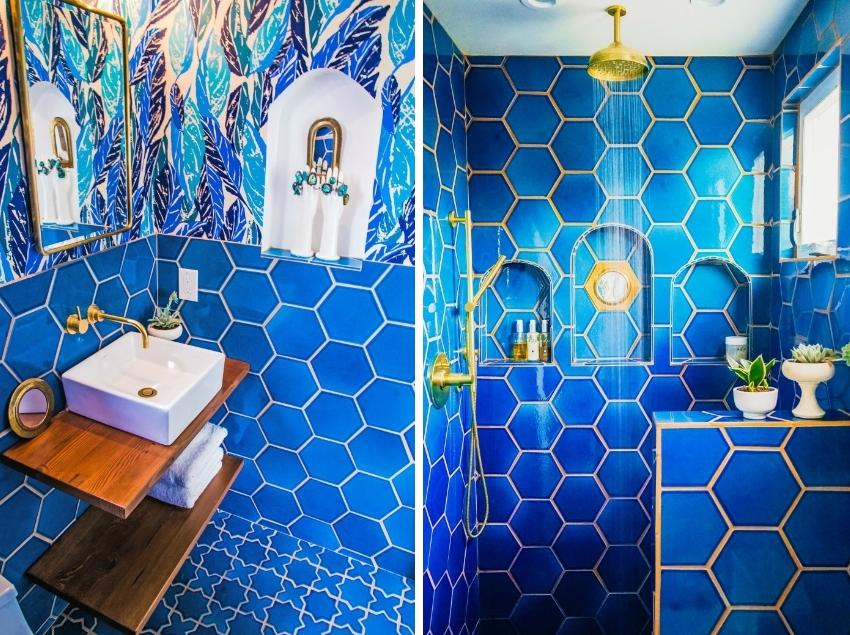 Благодаря широкому выбору оттенков и формы керамической плитки, интерьер ванной можно оформить в любом из стилевом направлении