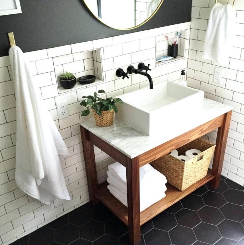 Черно-белая плитка часто используется для оформления интерьера в скандинавском стиле