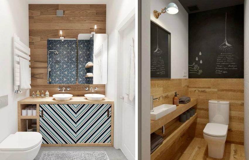 Ванную комнату маленького размера можно красиво оформить с помощью плитки и обоев