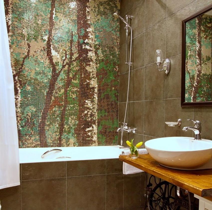 Мозаика считается самым дорогим и эксклюзивным видом отделки для ванной комнаты