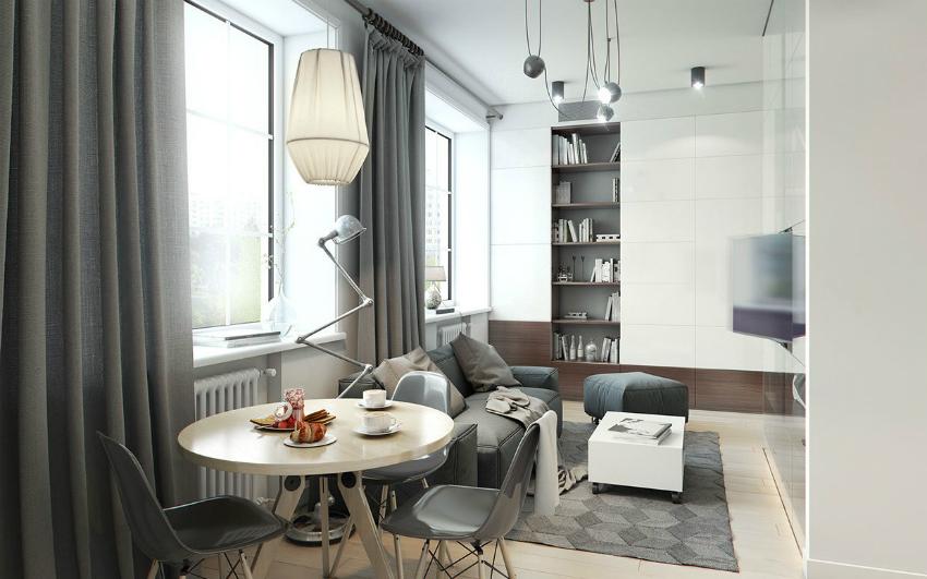 Светлые оттенки серого придадут легкости небольшой комнате
