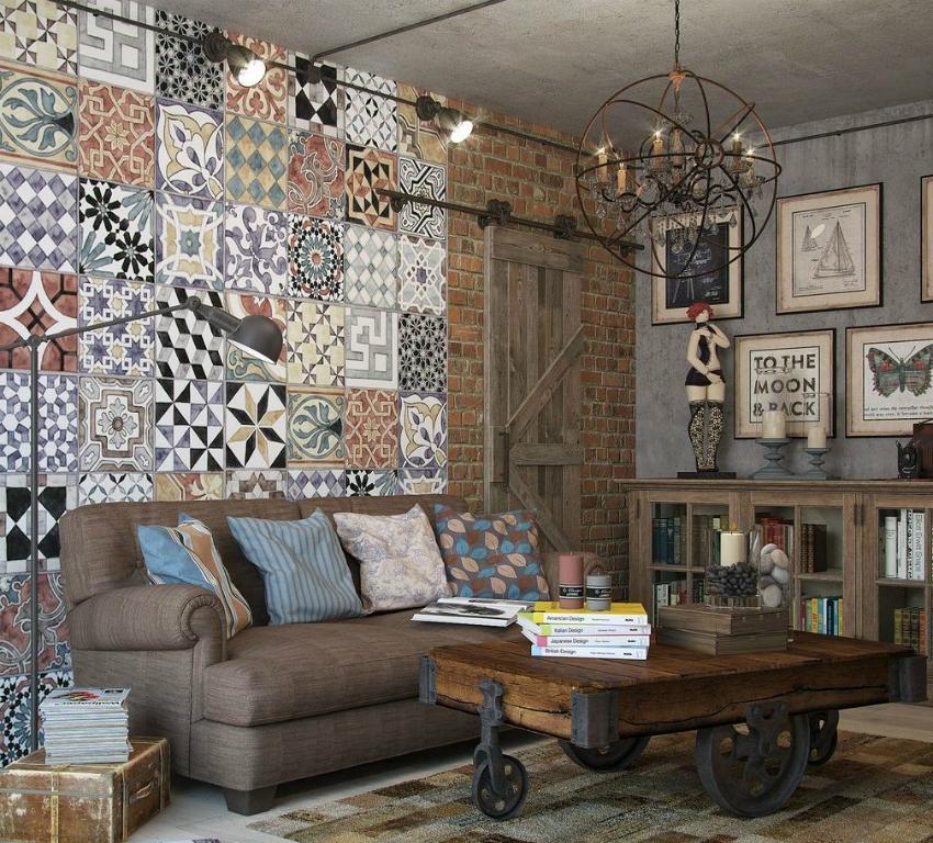 Состаренные элементы декора красиво сочетаются с фактурной отделкой стен