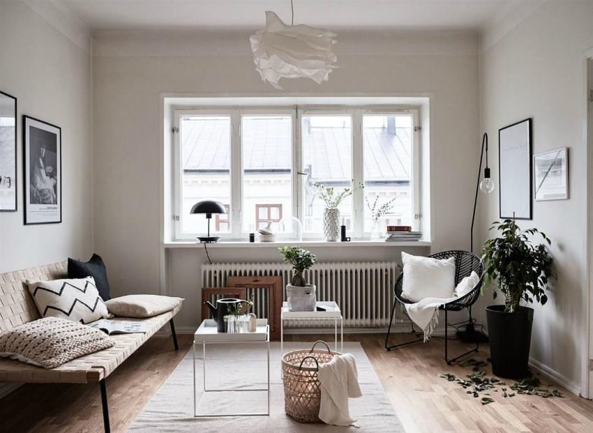 Для комнат, где мало дневного света можно не использовать шторы и тюли