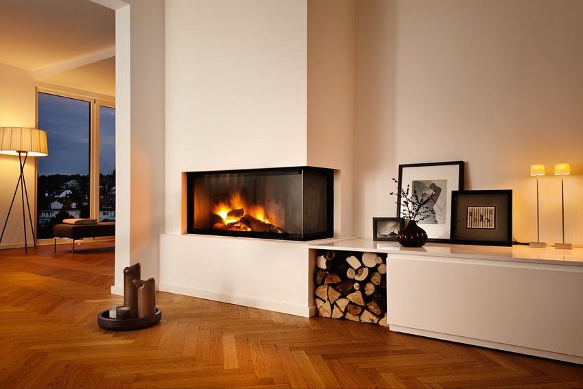 Дизайн интерьера гостиной с камином в современном стиле