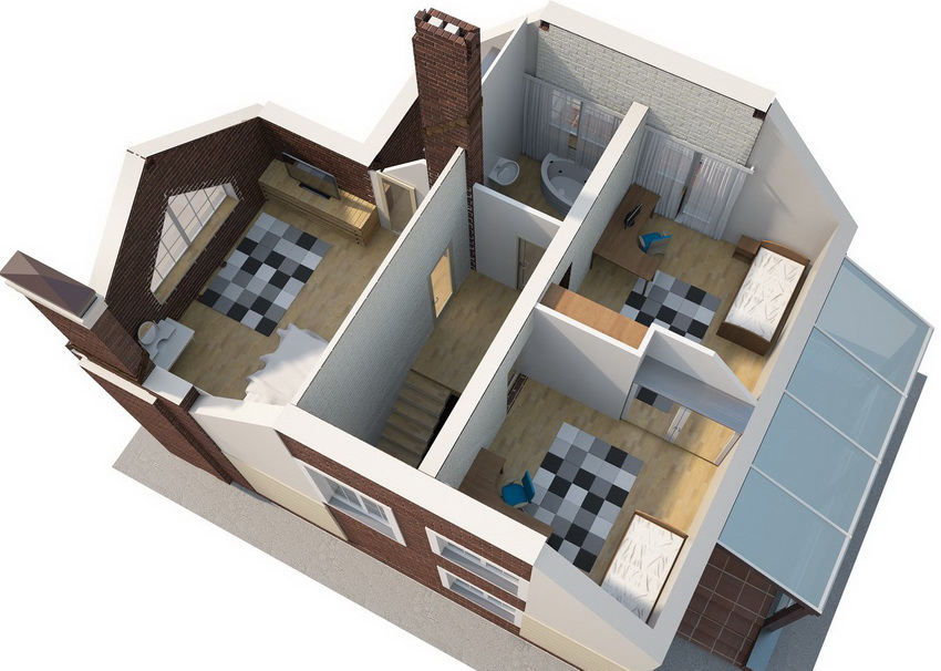 3D-проект небольшого загородного дома с мансардным этажом