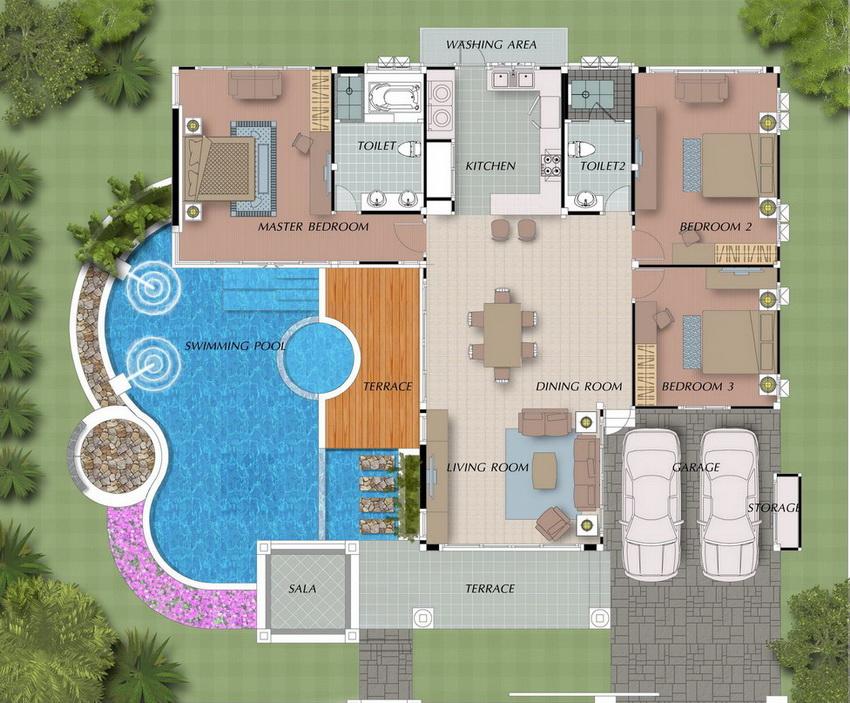 Планировка загородного дома с гаражом и прилегающим бассейном