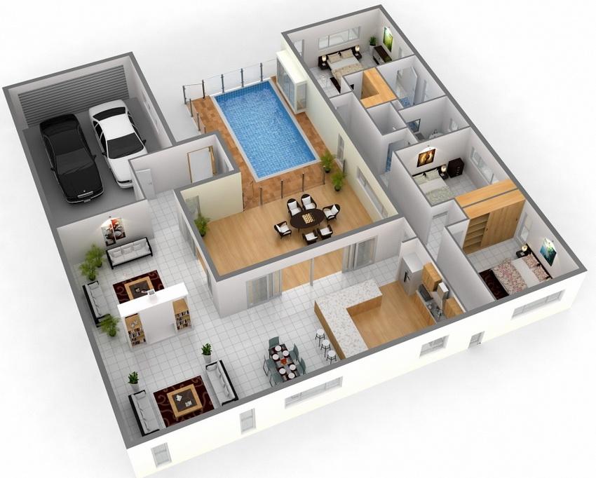 Проект одноэтажного дома с гаражом и бассейном