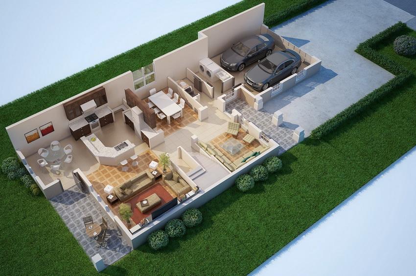 Планировка дома со встроенным гаражом
