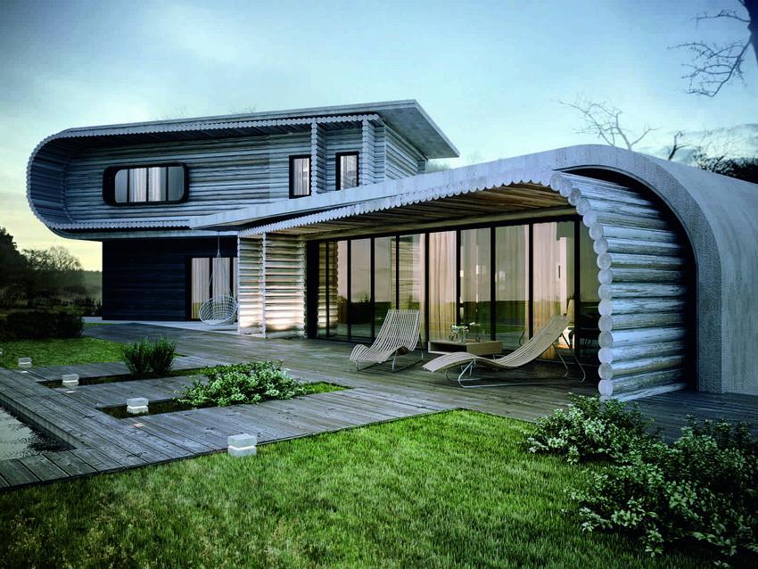 Оригинальный и экологичный дом из бруса с красивым дизайном