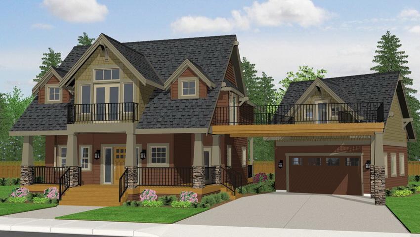 Проект двухэтажного дома с отдельно стоящим гаражом
