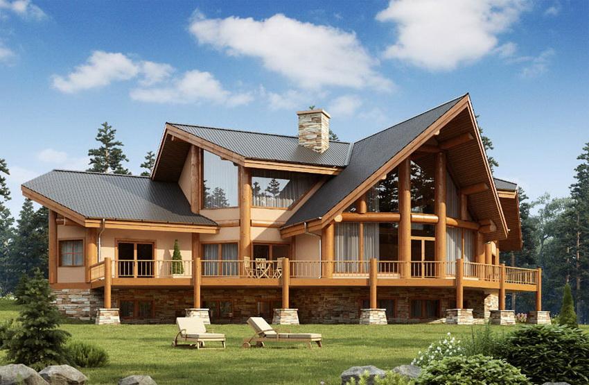 Проект современного двухэтажного дома с мансардой