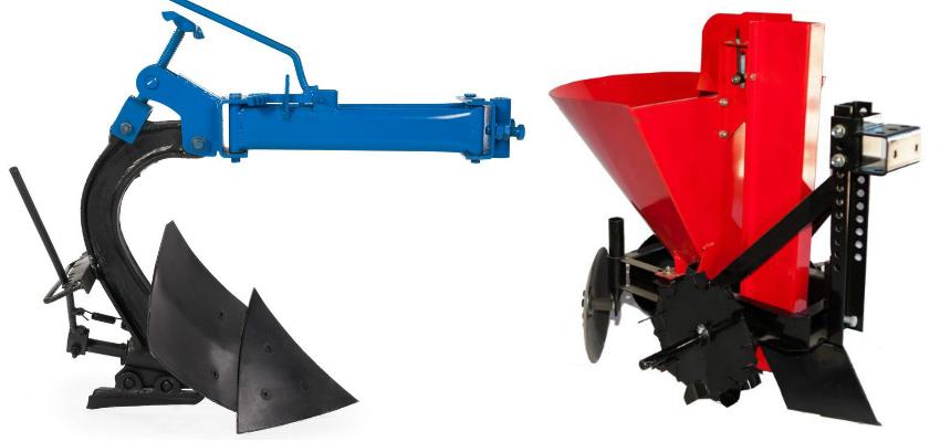 Специальное оборудование, облегчающее земляные работы - оборотный плуг и картофелесажалка
