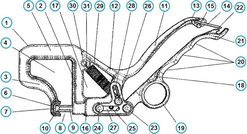 Устройство просекателя профиля: 1 - скоба, 2 - первая ножка, 3 - вторая ножка, 4 - проем скобы, 5 - основание скобы, 6 - упор, 7 - углубление, 8 - рабочий зазор, 9 - пробойник, 10 - рабочий конец, 11 - неподвижная ручка, 12 - основание неподвижной ручки, 13 - свободный конец неподвижной ручки, 14 - петля, 15 - ограничитель хода петли, 16 - рама, 17 - проем рамы, 18 - подвижная ручка, 19 - кольцо, 20 - свободный конец подвижной ручки, 21 - зацеп, 22 - неподвижная ось, 23 - первая подвижная ось, 24 - вторая подвижная ось, 25 - третья подвижная ось, 26 - соответствующие отверстия, 27 - вторая направляющая прорезь, 28 - коромысло, 29 - первый конечный виток, 30 - второй конечный виток, 31 - скрепляемые детали