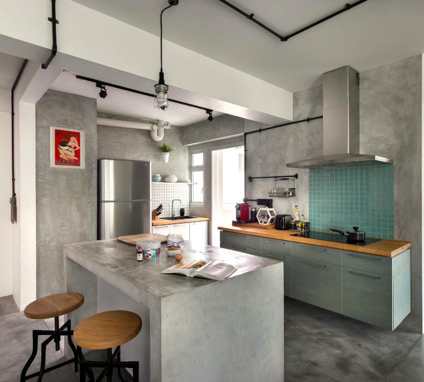 Открытые контрастные трубы характерны для дизайна кухни в стиле лофт