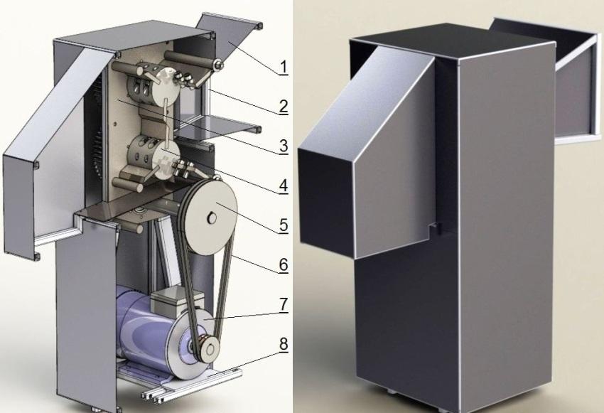 Устройство шредера: 1 - обшивка каркаса, 2 - каркас, 3 - корпус редуктора, 4 - рабочий вал, 5 - ведущий вал, 6 - клиновидный ремень, 7 - электродвигатель, 8 - поворотная площадка