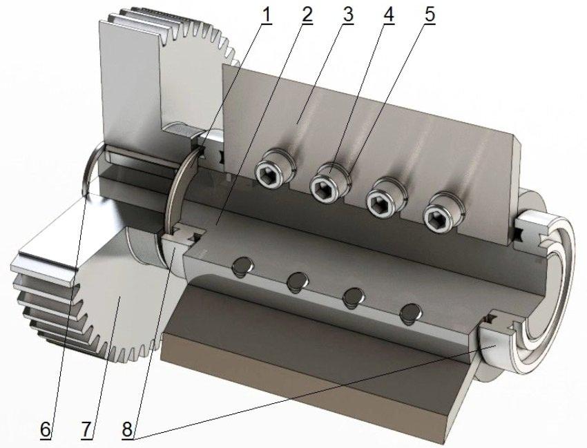 Устройство рабочего (ведомого) вала: 1 - втулка, 2 - вал, 3 - режущий элемент, 4 - винт М12 х 35 мм с внутренним шестигранником, 5 - пружинная шайба А12, 6 - стопорное кольцо 40 х 2,5 мм, 7 - шестерня MSGA4-50, 8 - подшипник №6210