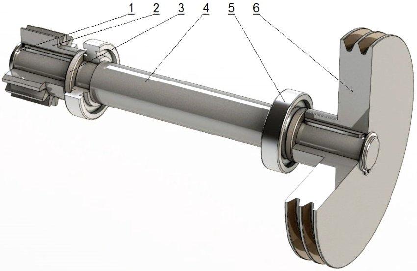 Устройство ведущего вала: 1 - стопорное кольцо 30 х 2 мм, 2 - шестерня MSGВ4-15, 3 - втулка, 4 - вал, 5 - подшипник №6207, 6 - шкив ведомый