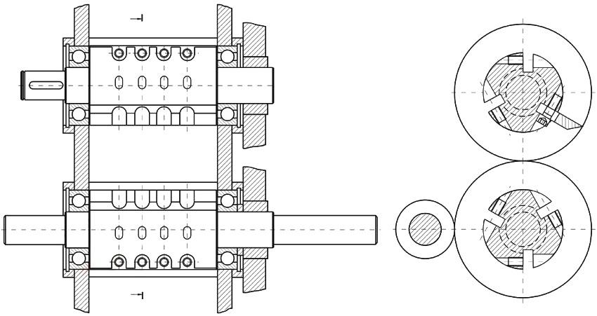 Чертеж расположения валов на раме двухвалкового шредера