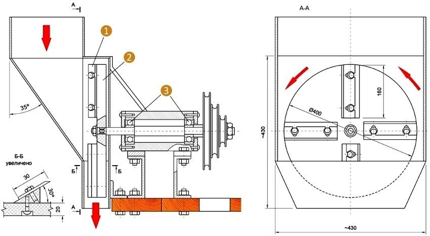 Чертеж сборки шредера с ножевым диском: 1 - ножи 4 шт, 2 - дисковая фреза, 3 - подшипники №307