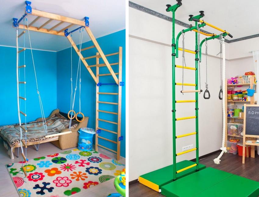 В стандартную комплектацию комплекса входит стационарная и веревочная лестницы, гимнастические кольца, трапеция и канат