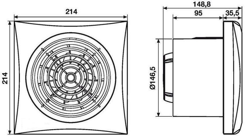 Размеры вытяжного вентилятора
