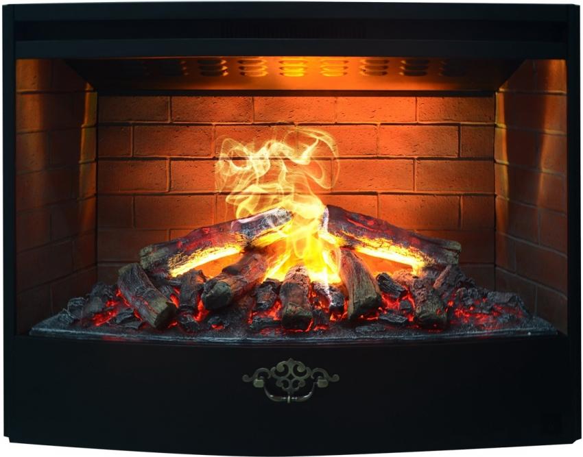 Пламя с 3D-эффектом в электрокамине выглядит очень реалистично благодаря специальной подсветке и пару