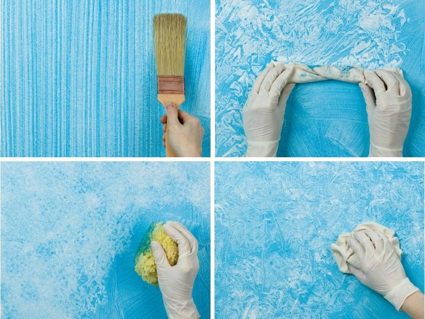 Примеры декоративного оформления стен с использованием акриловой краски и подручных материалов