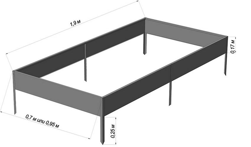 Схема размеров металлической грядки