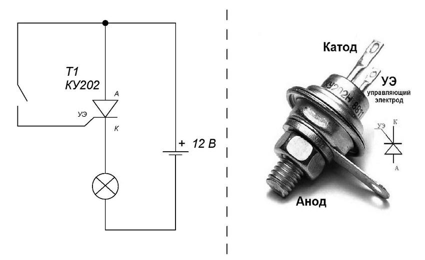 Схема проверки тиристора мультиметром