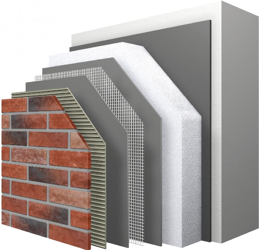 Многослойная теплоизоляционная система с использованием клинкерной плитки
