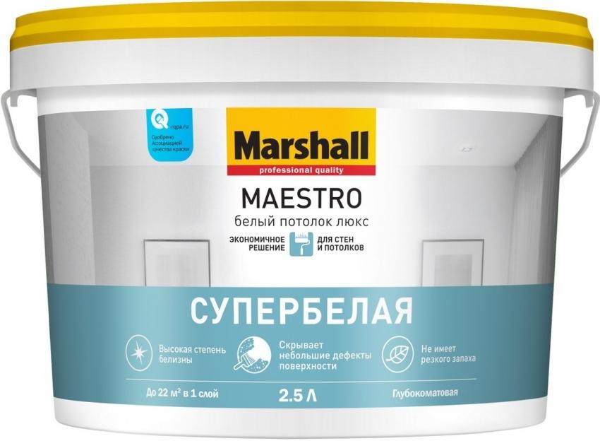 Для того чтобы получить наилучший результат, перед отделкой потолка краской Marshall стоит тщательно прогрунтовать поверхность
