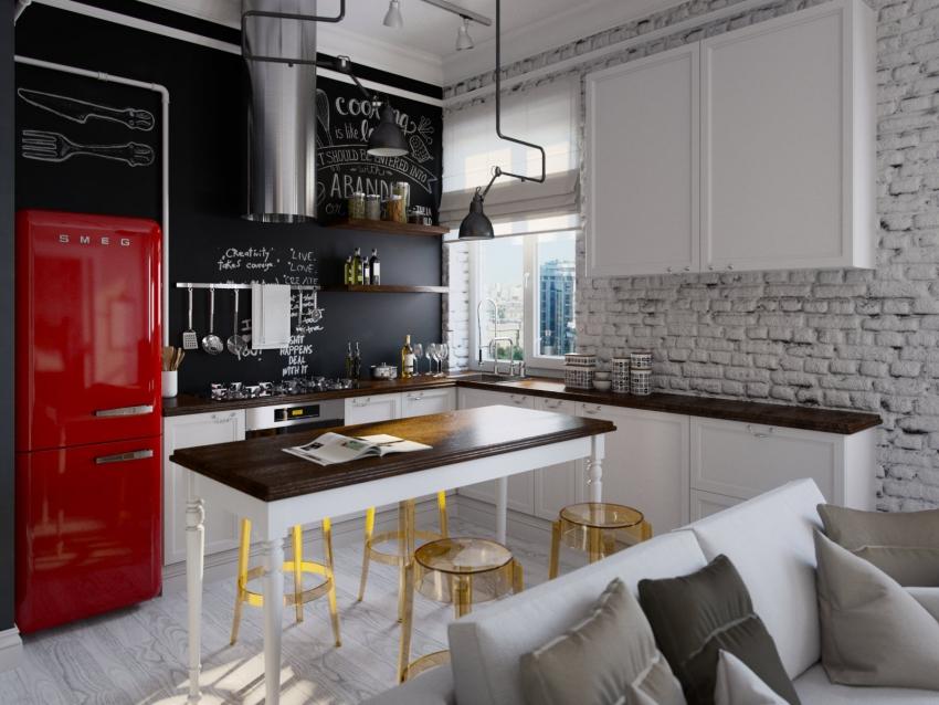 Современной тенденцией в оформлении кухни считается использование грифельной моющейся краски