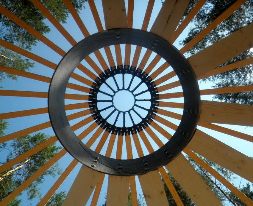 Крепление каркаса купольного дома в верхней точке
