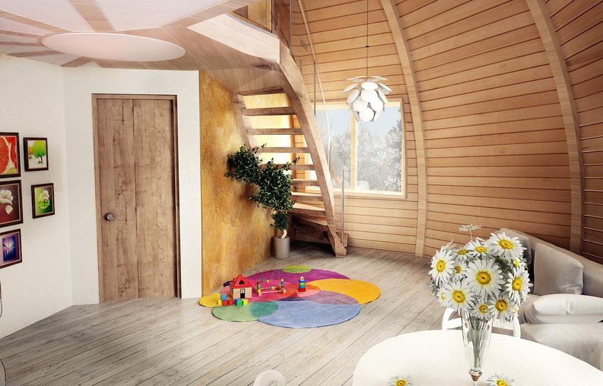 Используя необычную форму дома, можно создать интересные решения дизайна интерьера