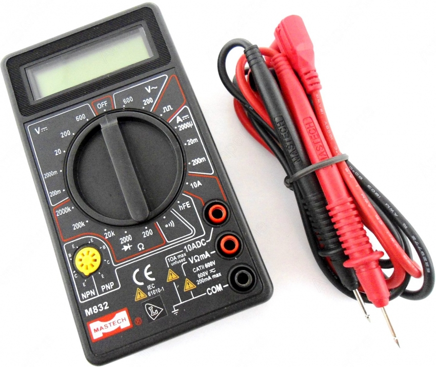 Мультиметр DT 832 - это идеальный вариант для домашнего использования, поскольку прост и удобен в работе, а также оснащен всеми базовыми и необходимыми функциями