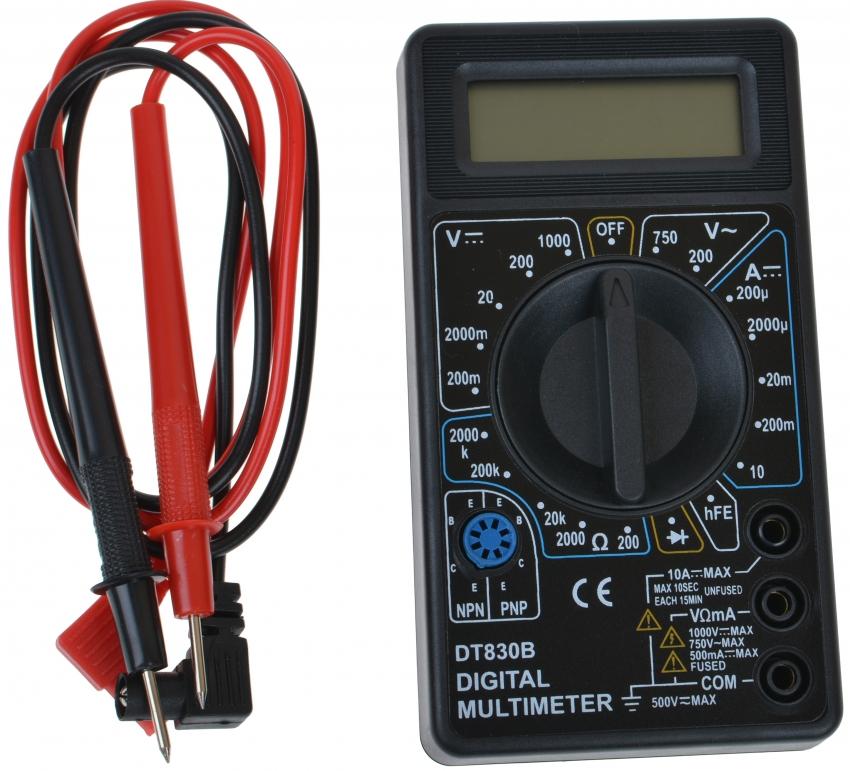 В базовую комплектацию мультиметра DT-830B входят щупы, термопара К-типа, батарея 9 В, инструкция и гарантийный талон