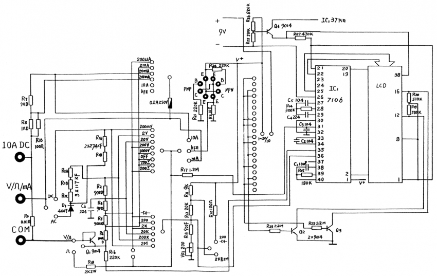 Cхема мультиметра DT 838