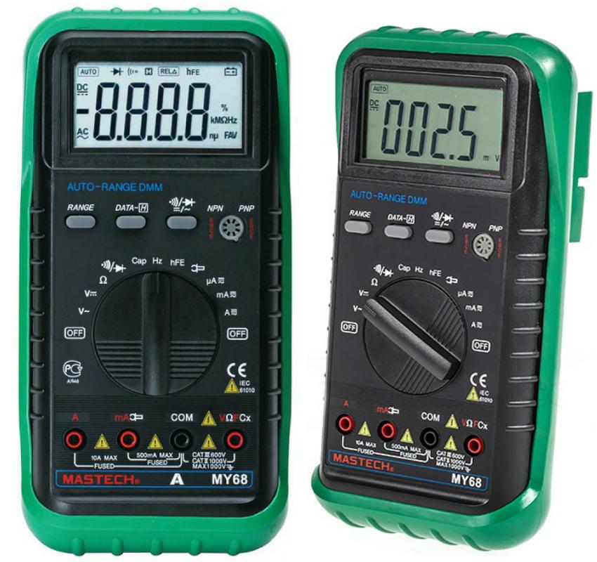Мультиметр MY68 от Mastech разработан и изготовлен в соответствии с европейскими стандартами качества