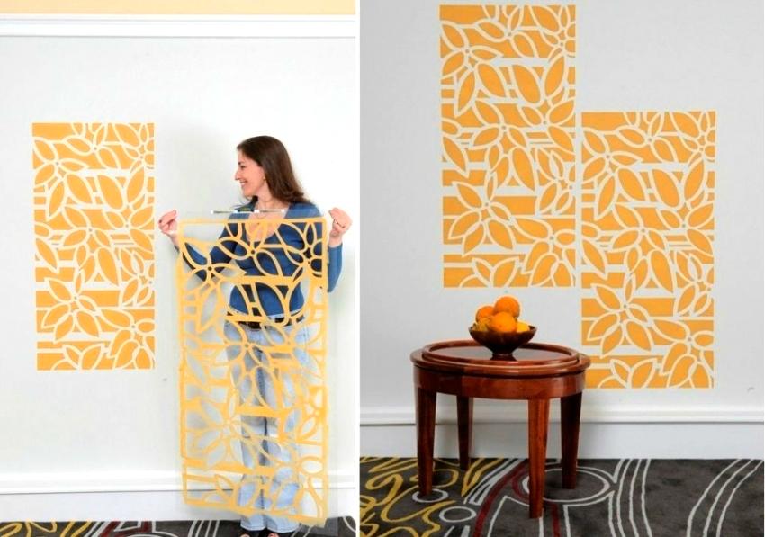 При помощи трафаретов можно оформить либо всю стену полностью, либо подчеркнуть некоторые зоны помещения