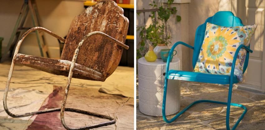 Простая технологии нанесения нитро красителя позволяет без особых усилий отреставрировать старую садовую мебель из металла