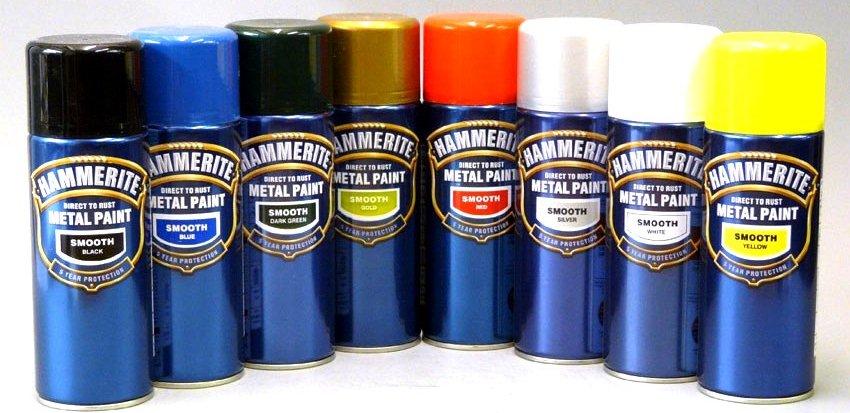Самые популярные оттенки цветов специального красителя по металлу Hammerite