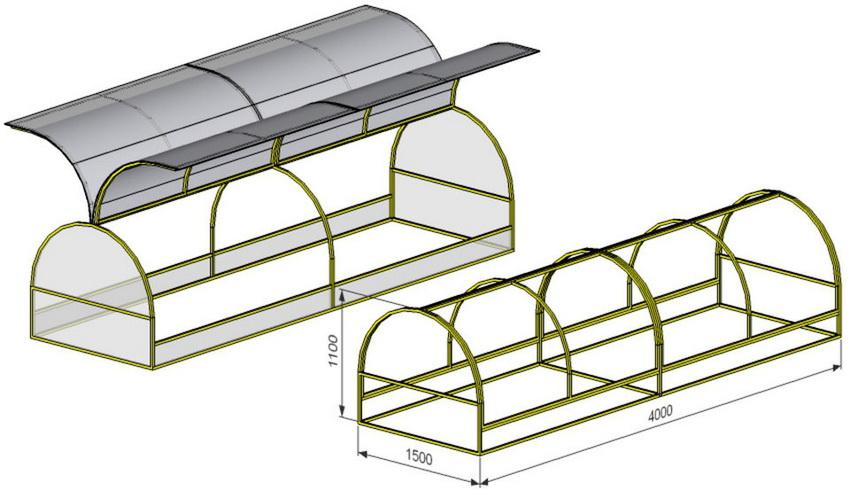 Стандартные размеры парника Бабочка - высота 1-1,5 м, длина и ширина 2х4 м
